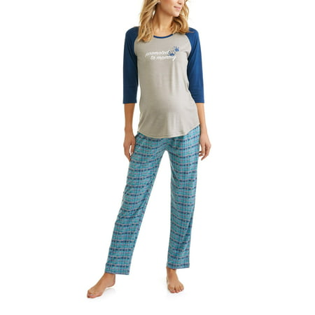Maternity 3-pc Promoted to Mommy T-Shirt With Pants and Shorts Sleep Set Pajamas