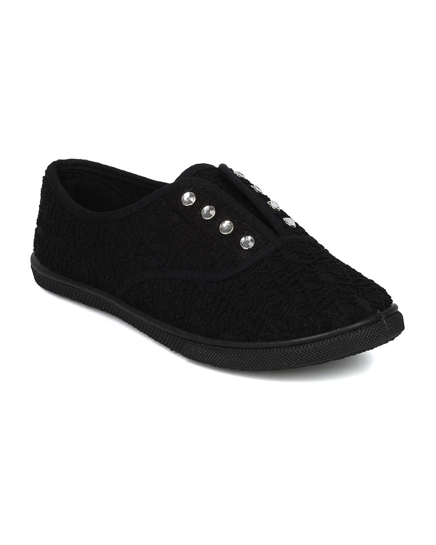 Kids Girls Boys Infant Junior Canvas Denim School Gusset Plimsolls Shoes Black