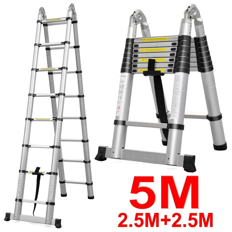 Ktaxon Telescopic Step Ladder, Aluminum, Extension, 330 L...