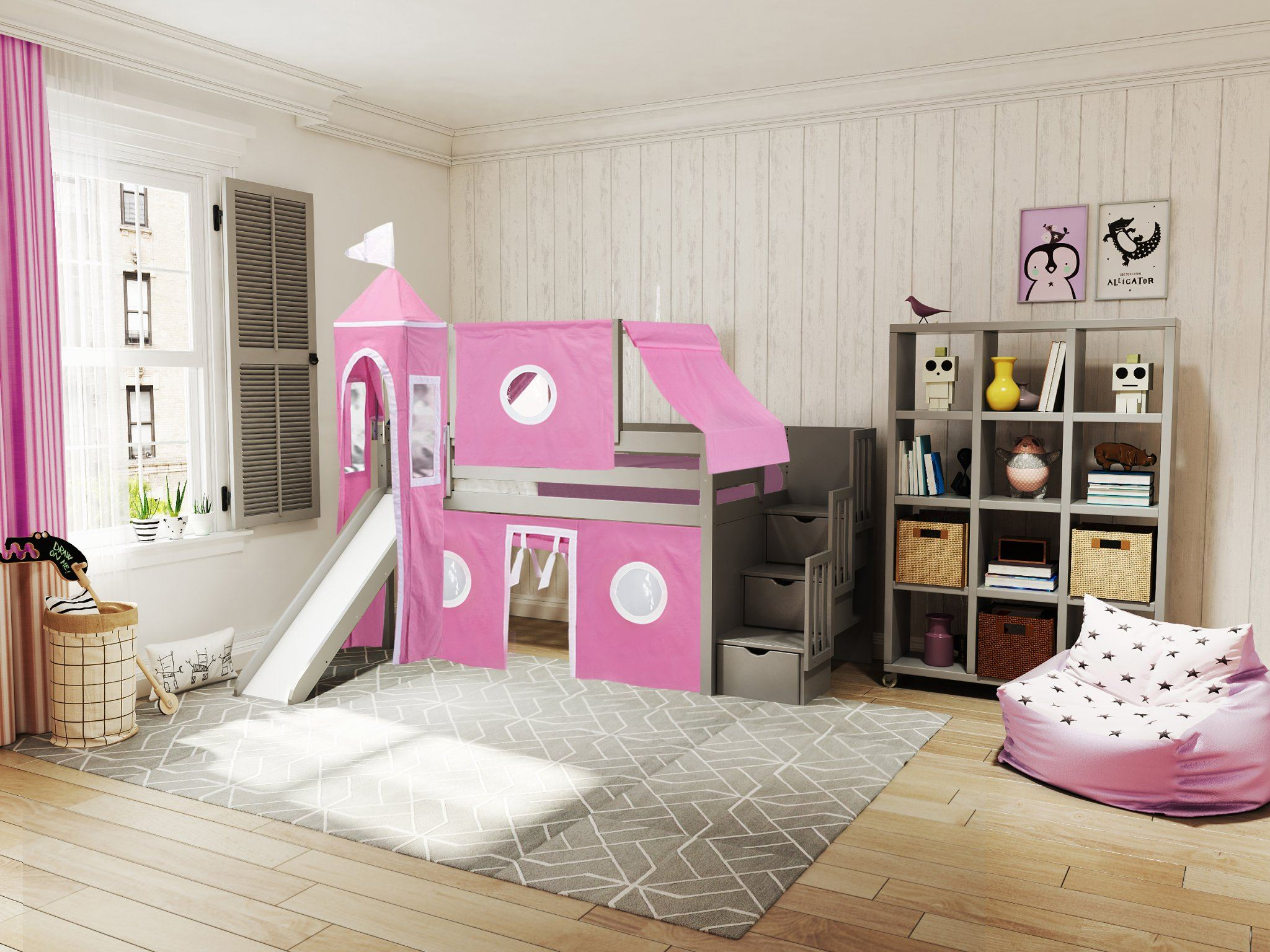 Princess Low Loft Stairway Bed With Slide Pink White Tent And Tower Loft Bed Twin Gray Walmart Com Walmart Com