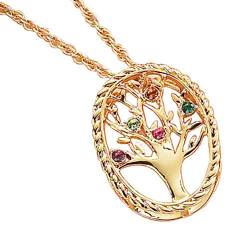Personalized Family Tree Birthstone Gold Over Sterling Silver Pendant