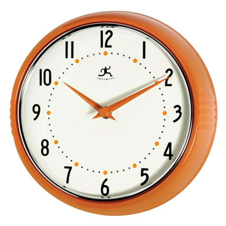 Orange 12 Inch Wall Clock - Infinity Instruments Retro 9.5-Inch Wall Clock