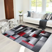 Lava/Grey/Silver/Black/Abstract Area Rug Modern Contemporary Geometric Cube and square Design Pattern Carpet