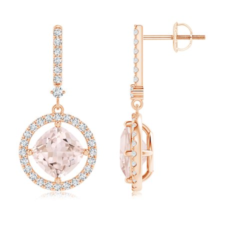 a28faa1d9 Angara - Floating Cushion Morganite and Diamond Halo Drop Earrings in 14K  Rose Gold (7mm Morganite) - SE1055MGD-RG-A-7 - Walmart.com