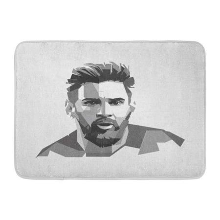 GODPOK Surabaya Indonesia 24 Dec Lionel Messi Argentine Professional Footballer Who Plays As Forward for Spanish Rug Doormat Bath Mat 23.6x15.7 inch - Door Dec Ideas
