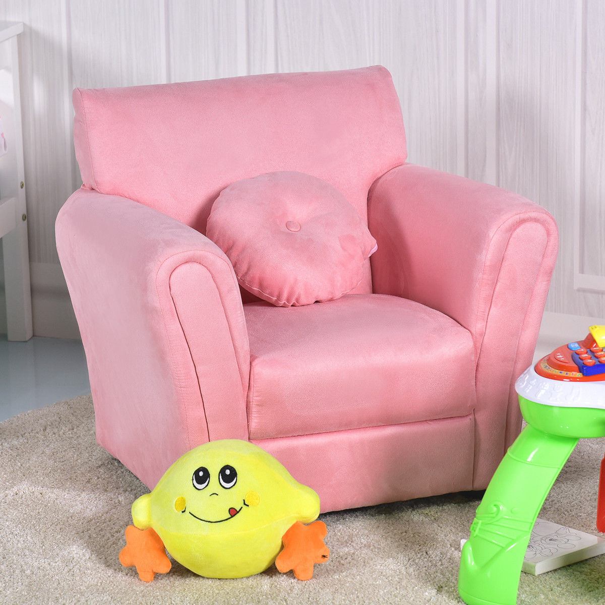 Gymax Kids Sofa Armrest Chair Couch Children Living Room Birthday Gift w/ Pillow Pink