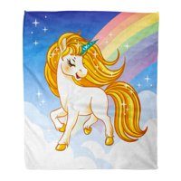 SIDONKU Flannel Throw Blanket Fantasy Unicorn Golden Mane and Rainbow for Children Beautiful 50x60 Inch Lightweight Cozy Plush Fluffy Warm Fuzzy Soft