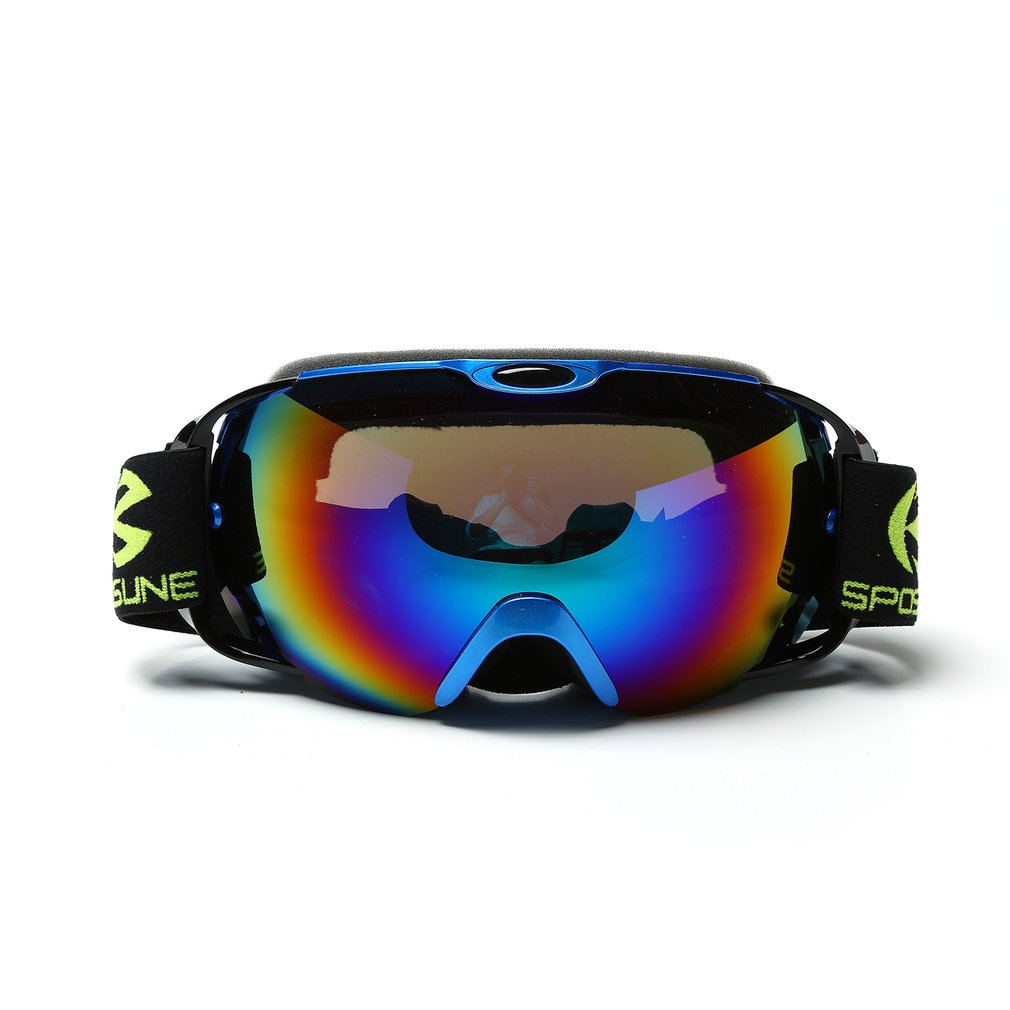 SPOSUNE Unisex Double Layers Snow Sports Spherical Anti-Fog Skiing Goggles by
