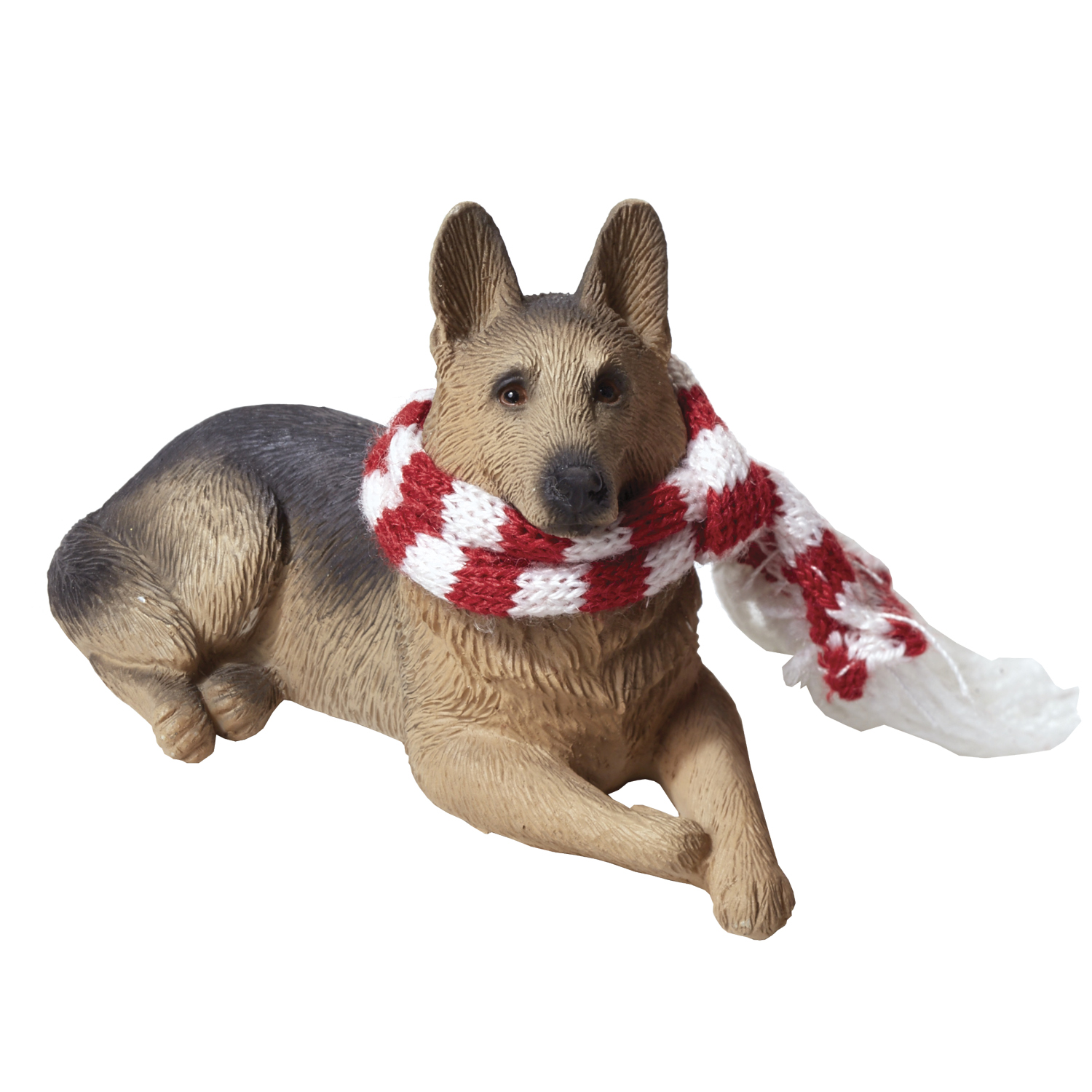 Sandicast Lying German Shepherd With Scarf Christmas Dog Ornament