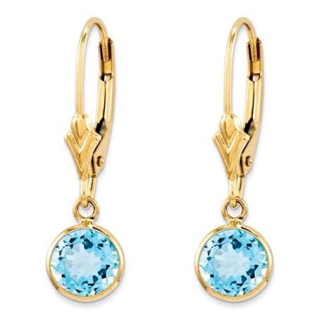 14k Yellow Gold 0.8IN Long Blue Topaz Leverback Earrings 14k Gold Leverback Cross Earrings