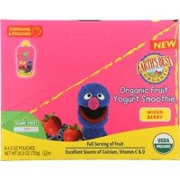 (6 Pouches) Earth's Best Organic Sesame Street Toddler Fruit Yogurt Smoothie, Mixed Berry, 4.2 oz. Pouch