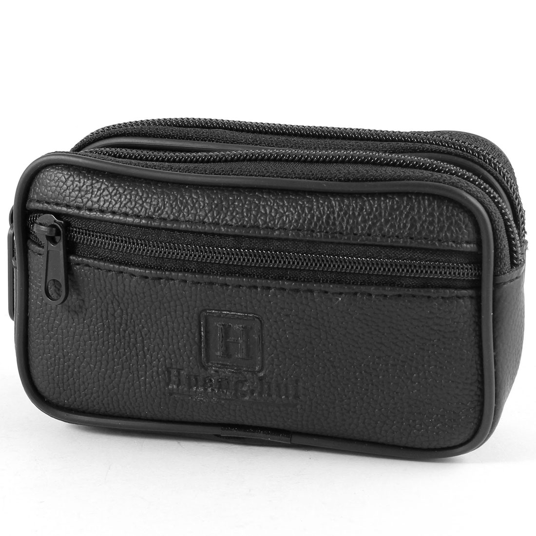 Black Three Layers Zip Up Belt Loop Waist Pack Belt Bag for Man