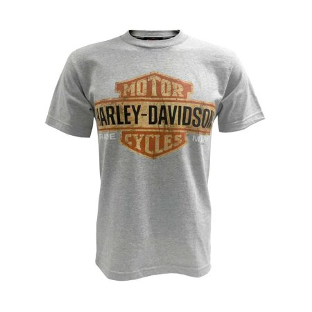 Men's Tee, Distressed Bar & Shield T-Shirt, Gray 30296597, Harley - Harley Davidson Novelties