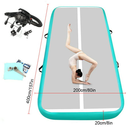 Fbsport 13ft*6.6ft*0.7ft/4m*2m*0.2m Green Inflatable Gymnastics Mat, Folding Gym Exercise Aerobics Air Track Floor Tumbling Mats, with Electric Pump for Stretching Yoga Cheerleading Martial Arts