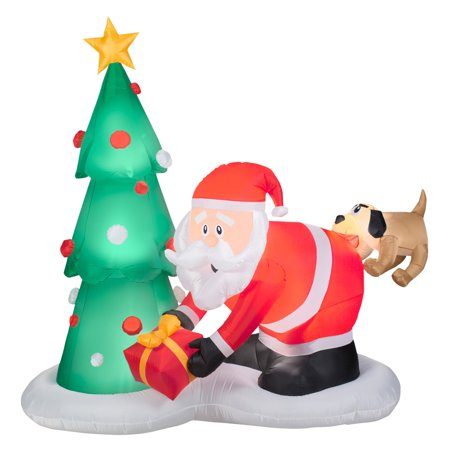 Airblown Inflatables Santa and Dog Scene Inflatable - Victorian Santas