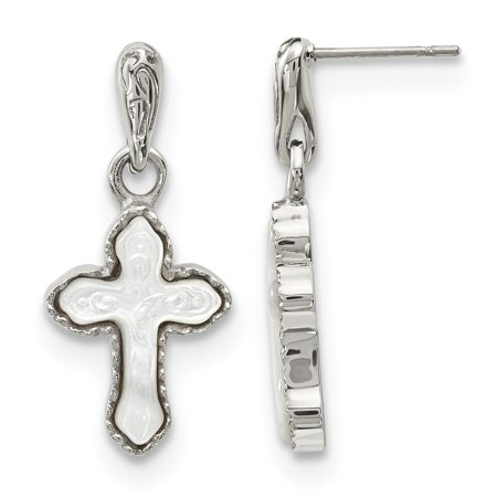 Chisel Stainless Steel Polished Carved Mother of Pearl Cross Post Dangle Earrings