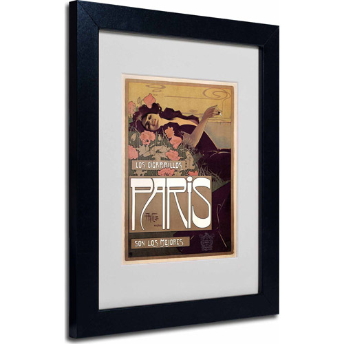 "Trademark Fine Art ""Paris Cigarettes 1901"" Matted Framed Art by Vintage Apple Collection, Black Frame"
