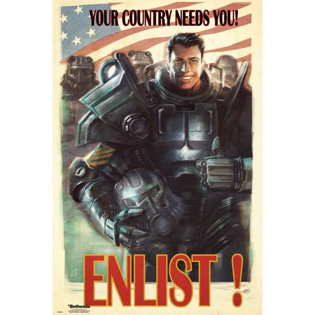 Fallout 4 - Gaming Poster / Print (Your Country Needs You! ENLIST!) (Size: 24