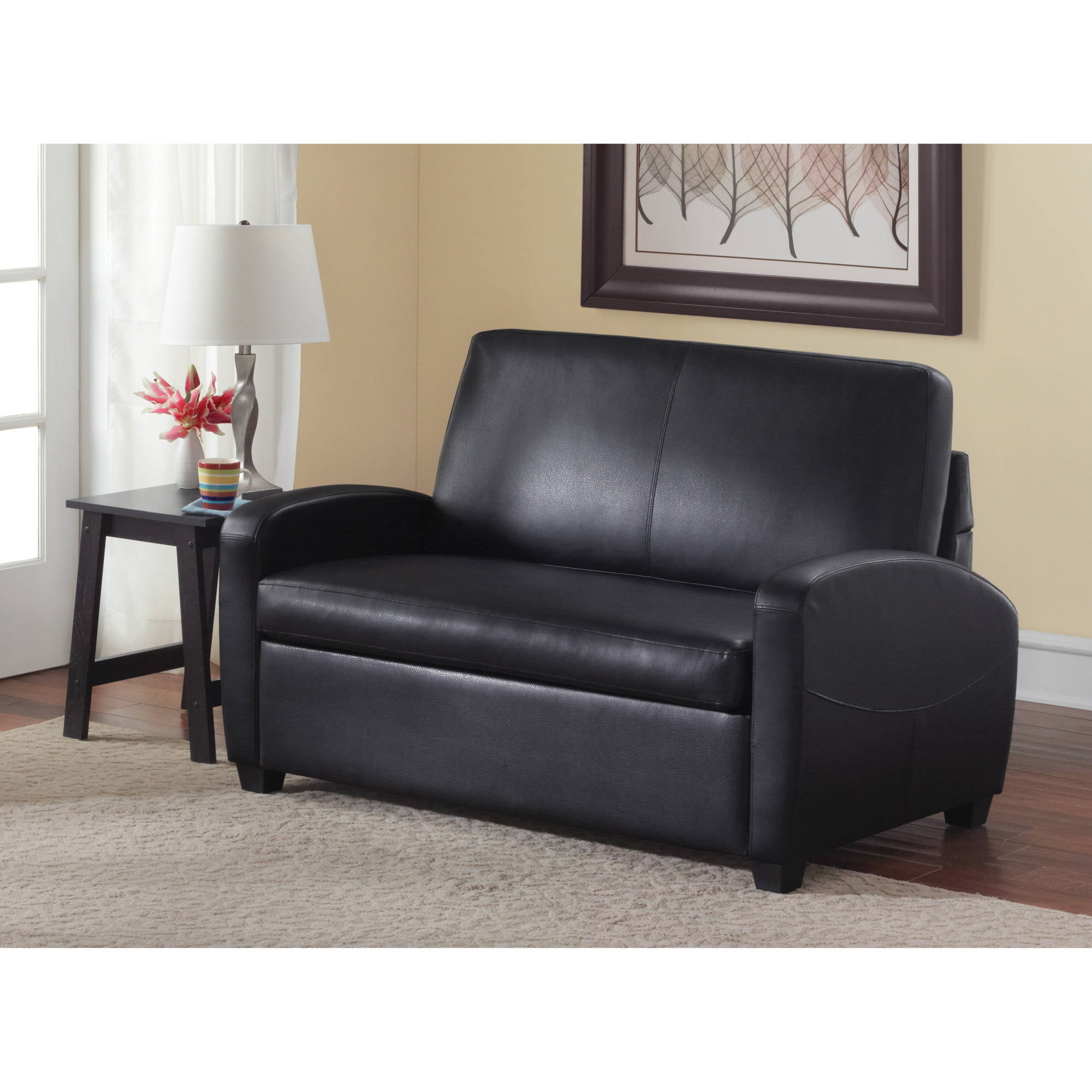 mainstays 54 loveseat sleeper black walmart com rh walmart com leather sleeper sofa twin leather sleeper sofas full