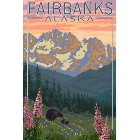 Fairbanks, Alaska - Bear and Cubs Spring Flowers Print Wall Art By Lantern Press ()