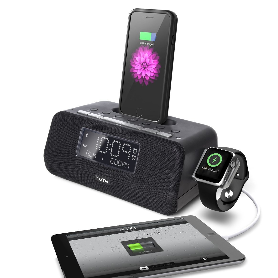 iHome iPLWBT5B Bluetooth Dual Alarm FM Clock Radio w/Speakerphone and Triple Charging Lightning Dock for iPhone 7/7Plus 6/6Plus 5/SE w Integrated Apple Watch Charger and USB Charger for any USB Device
