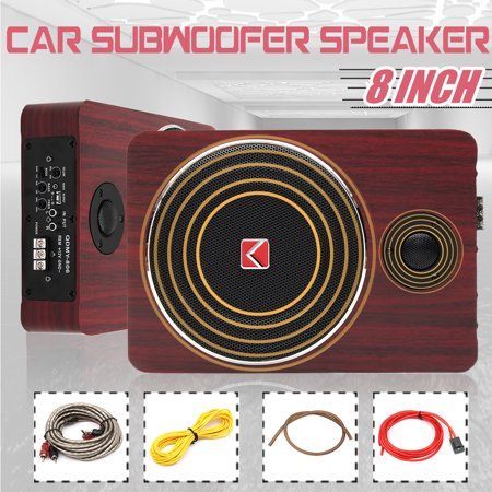 QDMY-806 Wooden 600W 8 Inch Active Power Car Subwoofer Speaker Replacement Under Seat 12V Auto Car Audio Stereo Sub Woofers Brass Amplifier Speakers ()