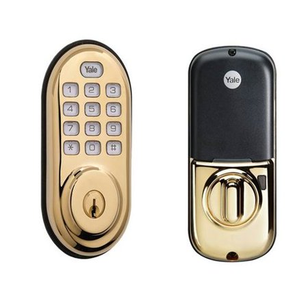 Yale YRD210 Push Button Deadbolt, Polished Brass