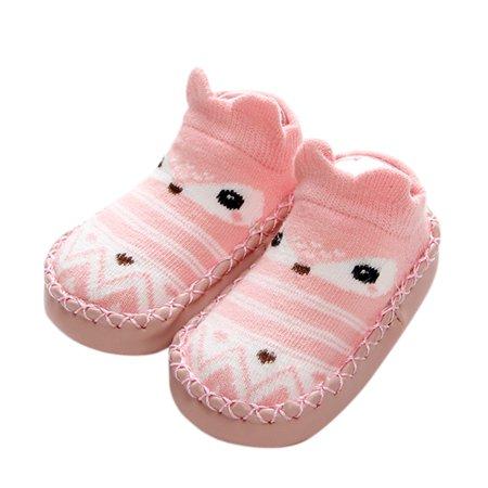 Infant Toddler Anti-slip Floor Socks Cute Cartoon Cotton Breathable Socks Shoes Casual Walk Learning Socks for Baby pink S (11cm)