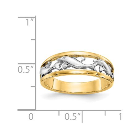 14k Two-Tone Gold With Rhodium Dolphin Ring - image 4 of 5