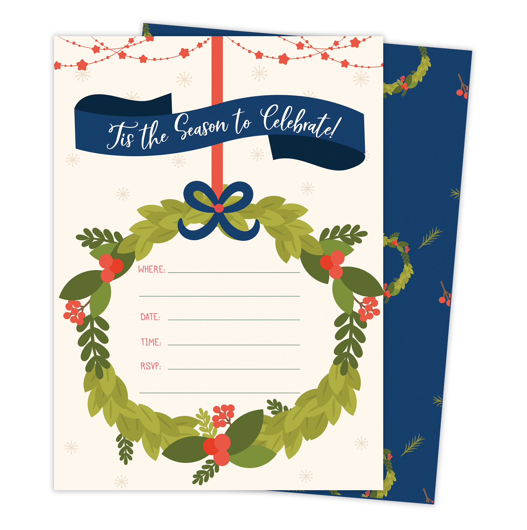 Christmas #1 Holiday Season Party Gathering Invitations Invite Cards (25 Count) With Envelopes & Seal Stickers Vinyl Party