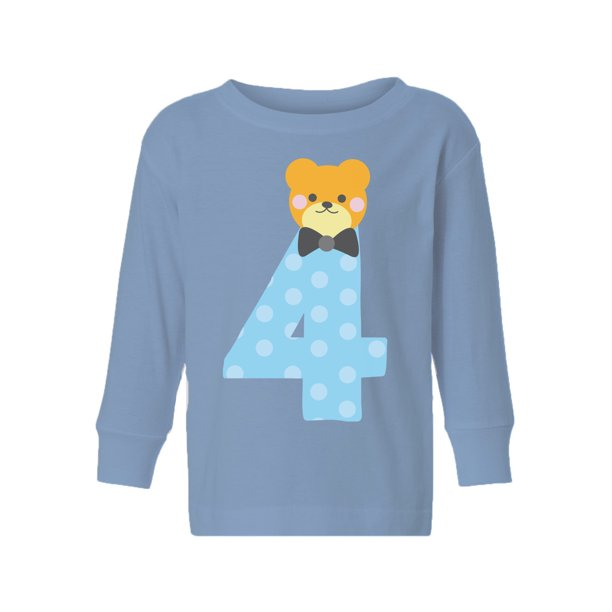 Awkward Styles Fourth Birthday Boy Toddler Long Sleeve Shirt Funny Bear Kids T-Shirt