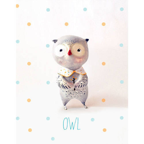 Oopsy Daisy - Paper Mache - Owl - Boy Canvas Wall Art 14x18, Paola Zakimi