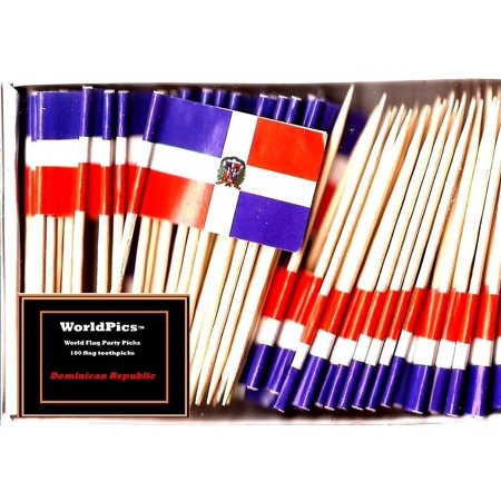 One Box Dominican Republic Toothpick Flags, 100 Small Dominica Republic Cupcake Flag Toothpicks or Cocktail Picks - Flag Picks