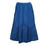Mogul Women's A-Line Blue Skirt Elastic Waist Fashionable Gypsy Hippie Chic Summer Comfy Skirts M