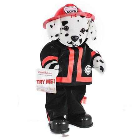 Chantilly Lane Singing & Dancing Sparky Fireman Dog - Dalmatian Musical - Toy Firemen