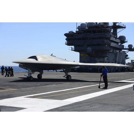 An X 47B Unmanned Combat Air System Aboard Uss George Hw Bush Canvas Art   Stocktrek Images  35 X 23