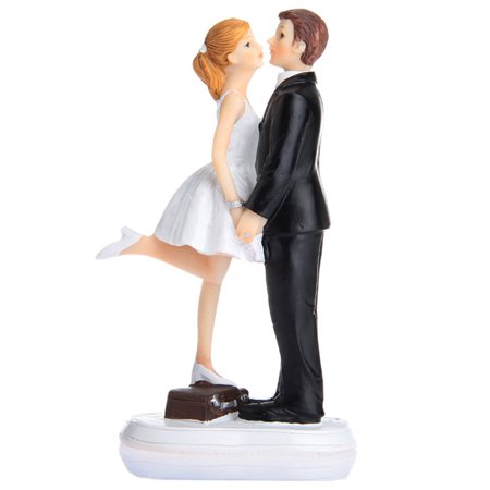 Kissing Couple Cake Topper - Funny Kiss Wedding Cake Topper Bride and Groom Couple Figurine For Wedding Decoration 9.5*6*15cm