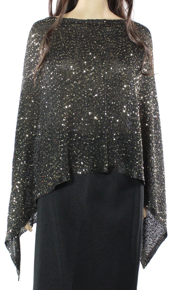 Alfani New Black Women's Large L XL Sequin Asymmetrical Poncho Sweater by Alfani