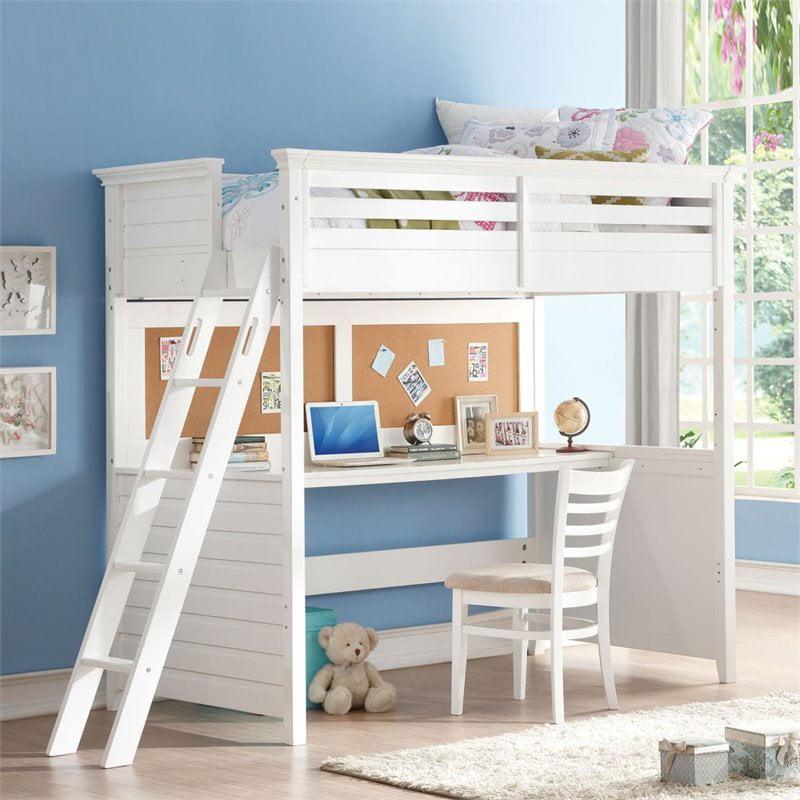Rosebery Kids Twin Loft Bed With Desk In White Walmart Com