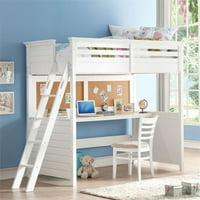 Rosebery Kids Twin Loft Bed with Desk in White