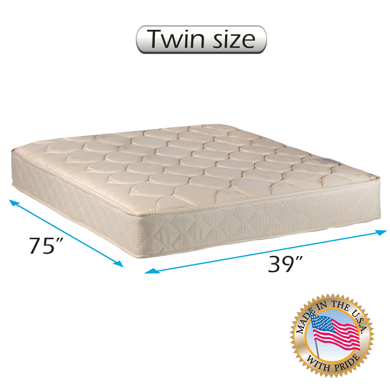 "Dream Solutions USA Gentle Firm Twin 39""x75""x7"" Mattress Only - Fully Assembled, Orthopedic, Good for your back, Long lasting and Superior Quality"