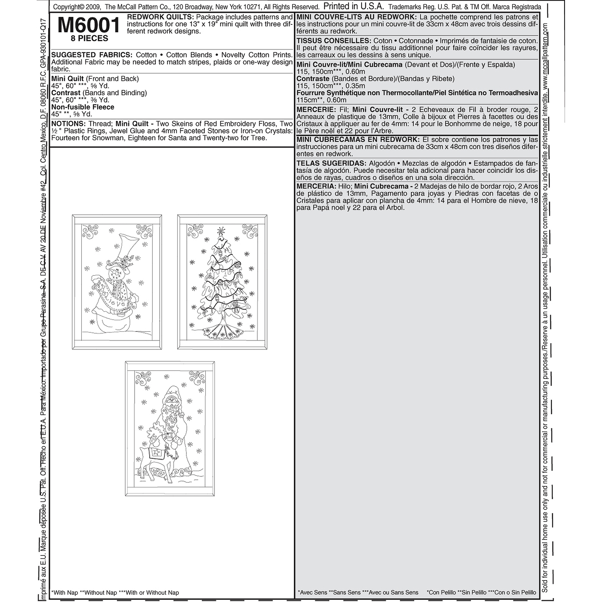 """McCall's 13"""" x 19"""" Redwork Mini Quilts, 1 Size Only"""