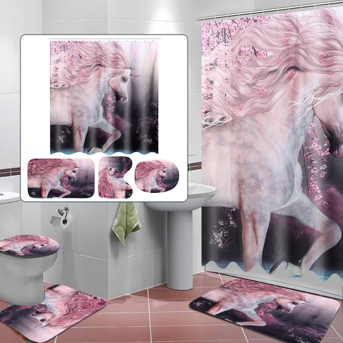 Unicorn Heavenly Horse Printing Bathroom Shower Curtain Set Toilet Cover Mat  g