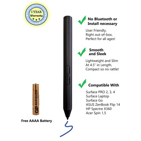 Smartpen Surface Stylus with 1024 Levels of Pressure Sensitivity Pen Aluminum Body, Laptop Stylus Mini Pen 2019 Microsoft Surface Pro, Surface Pro 5, Surface Pro 4, with AAAA Battery Included -