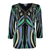 JM Collection Women's 3/4 Sleeve Beaded V-Neck Jersey Top