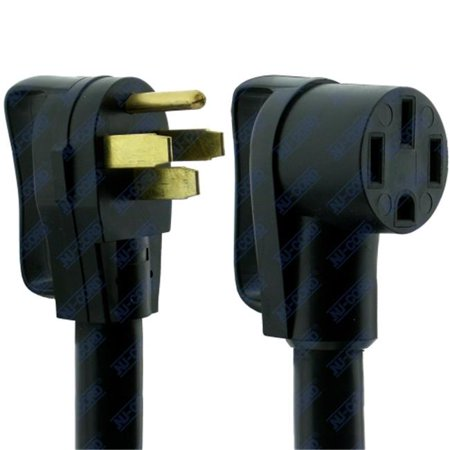 NU-CORD 94553E 50 Amp RV Female Extension Cord STW with 2 & 8 AWG Wire, Black - 30 ft. ()