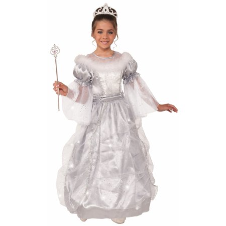 Winter Princess Queen White Fancy Dress Up Halloween Deluxe Child Costume Gown - Cheap Kids Fancy Dress Costumes