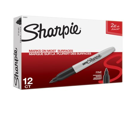Sharpie Super Permanent Markers, Fine Point, Black, Dozen