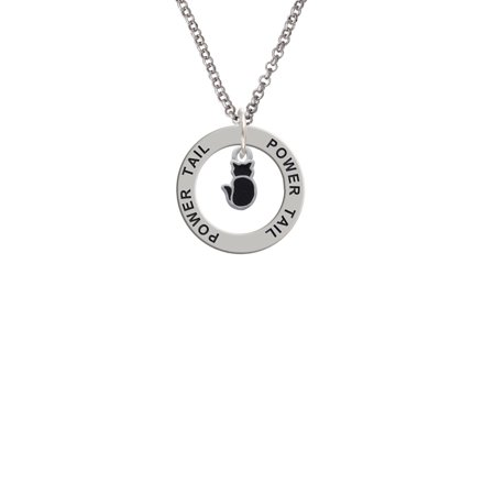 Small 2-D Black Cat Back Power Tail Affirmation Ring Necklace