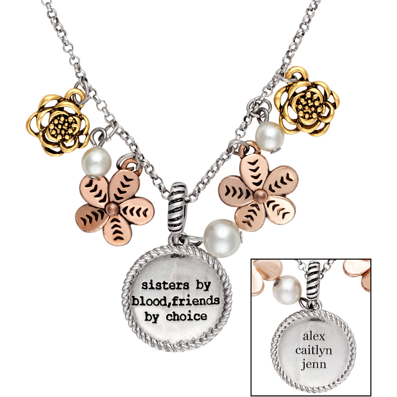 Personalized Tri-Color Sister's Sandra Magsamen Engraved Pendant, 18""